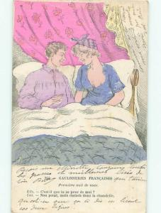 foreign 1918 Risque SEXY FRENCHWOMAN IN BED WITH MAN AC2945