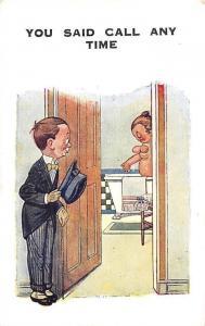 Comic Elegant Boy, Girl Bathing You Said Call Any Time Early Comic Postcard