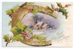 Christmas Horseshoe Birds Holly Cottage Scene Embossed Vntg Gilt Nash Postcard