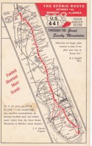 MAP ; U.S, 441, Midwest to Florida , 1940s
