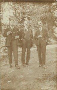 Social History Postcard Elegant vintage outfits gentlemen picture forest area