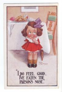 ch0077 - Young Girl by Dinner Table -  artist Reg Maurice  - postcard
