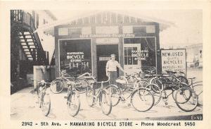 Chicago IL Manwaring Bicycle Store at 2942 5th Avenue Advertising Postcard