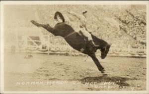 Cowboy Rodeo Bucking Broncho Horse Norman Mason Real Photo Postcard