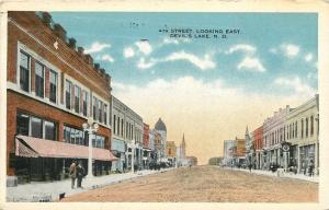 Devil's Lake North Dakota~4th Street E~Lunch~Drug Store~Lunch~Street Clock~1917