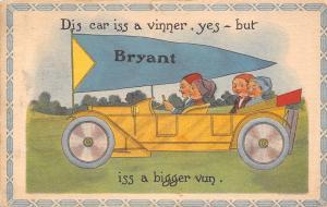 A Bigger Vinner is Bryant Iowa~Vintage Touring Car~1914 Pennant Postcard