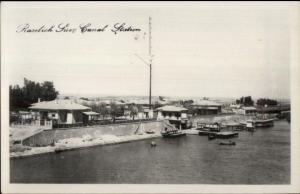 Roselich Suez Canal Station Egypt Real Photo Postcard