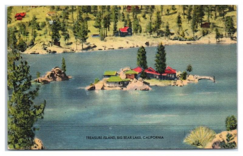 Mid-1900s Treasure Island, Big Bear Lake, CA Postcard