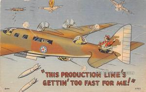 Military Comic Postcard, Old Vintage Antique Post Card Getting' too fast...