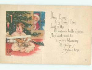 Pre-Linen Christmas BOY GETS ANTIQUE TOY AIRPLANE FROM SANTA CLAUS AB4504