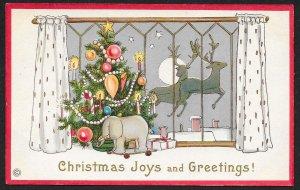 Christmas Joys & Greetings Decorated Tree & Presents Reindeer Unused c1910s