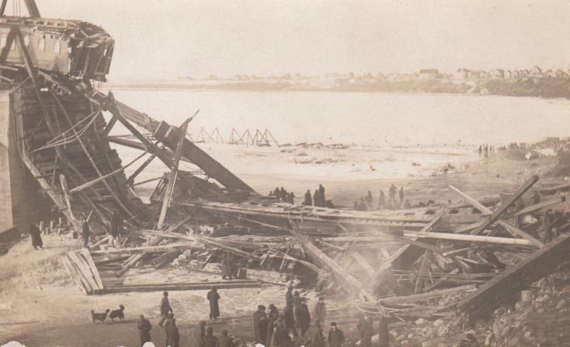 RP, SASKATOON, Saskatchewan, 1900-10s; Railroad Train Wreck, Collapsed Track