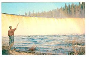 Man Fishing, Lady Evelyn Falls, On The Kakisa River, North-West Territories, ...