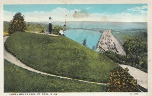 ST PAUL, Minnesota, 1910s; Indian Mounds Park, Woman looking down at Train Yard