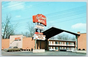 Cincinnati Ohio~Red Carpet Motel & Restaurant~Neon Sign~1960-70 Cars~Postcard