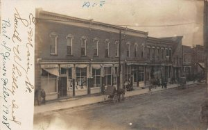 LP58 South Whitley Indiana Vintage Postcard RPPC Town View  E. Main St.