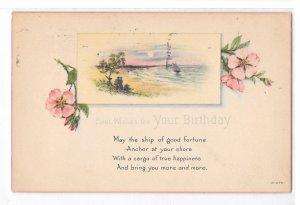 Poem Postcard Birthday Greeting Ship of Good Fortune Vntg Postcard Posted 1923