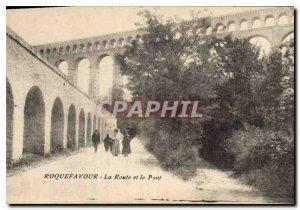 Old Postcard Roquefavour Road and Bridge