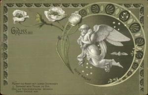 German Gruss Aus Art Nouveau Angel GUTE NACHT Poem c1900 Postcard
