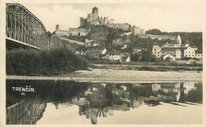 Postcard Slovakia Trencin castle bridge