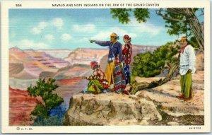 Grand Canyon National Park Postcard Navajo & Hopi Indians Linen c1940s Unused