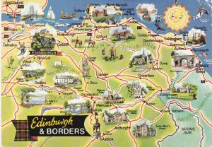 Post Card  illustrated map Edinburgh & Borders