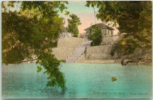 NOEL Missouri Hand-Colored Postcard Park Steps on Elk River Albertype *CREASED