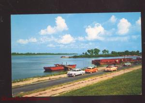 PADUCAH KENTUCKY OHIO TENNESSEE RIVER FERRY 1950's CARS VINTAGE POSTCARD