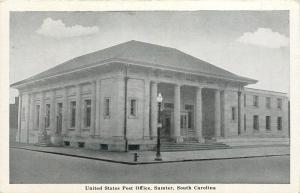 Sumter South Carolina~U S Post Office~1940s B&W Postcard