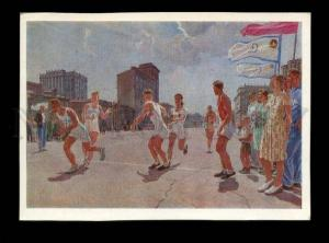 135860 SPORT AVANT-GARDE Relay race by DEYNEKA old postcard