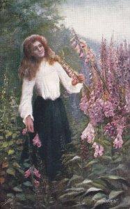 All In A Garden Fair, Girl Walking In A Garden, TUCK No.9032, 1900-1910s