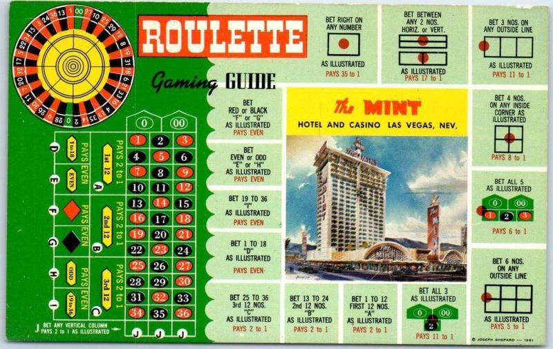 Las Vegas, Nevada Postcard THE MINT Hotel Casino Roulette Gaming Guide c1960s