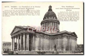 Postcard Old Paris Pantheon and the Statue of Jean-Jacques Rousseau