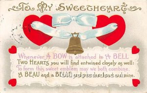 Valentines Day 1913 postal marking on front