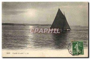 Postcard Old fishing boat Sunset