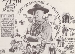 Lord Baden Powell 75th Anniversary Scouting Postcard