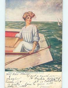Pre-1907 art nouveau signed PRETTY GIRL SITTING IN SMALL BOAT HL4267