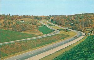 INTERSTATE I-80 KEYSTONE SHORTWAY WESTERN PENNSYLVANIA AERIAL VIEW POSTCARD