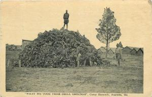 Augusta GA~Camp Hancock~Soldier on Pile~What We Took from Drill Grounds~WWI
