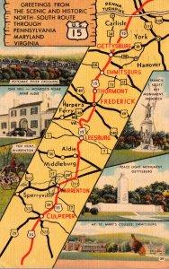 Virginia Map Of Scenic Route 15 Through Pennsylvania Maryland & Virginia 1954