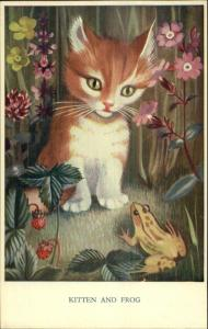 Cat - Kitten & Frog Flowers Heda Armour Medici Pk 299 Postcard