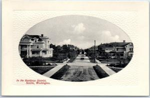 Seattle, Washington Postcard In the Residence District Street Scene PNC Glosso