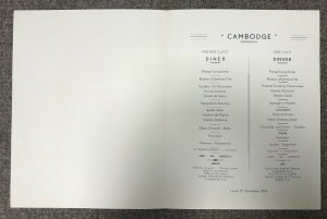 Compagnie des Messageries Maritimes CAMODGE, Dinner Menu, 1954