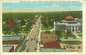 Ryan St Lake Charles, LA Looking S from Pujo St Bird's Eye View 1950 Postcard