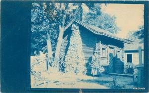 C-1910 Rural Log Cyanotype Log Cabin PENDLETON OREGON Real Photo RPPC 5119