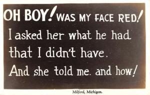 Milford Michigan Humor Poem Real Photo Antique Postcard K101345