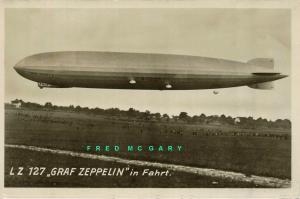 Circa-1928 Germany Real Photo Postcard: Graf Zeppelin in Flight, Descending