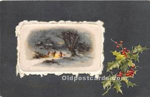 Christmas Holiday Postcard Silk on card Writing on Back