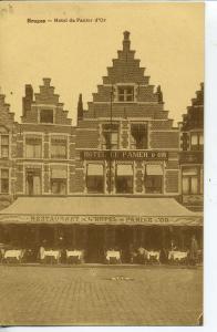 BRUGES HOTEL DE PANIER D'OR VINTAGE POSTCARD BELGIUM CAFE