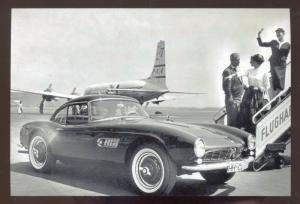 1960 BMW 507 SPORTS CAR CAR DEALER ADVERTISING POSTCARD AIRPLANE